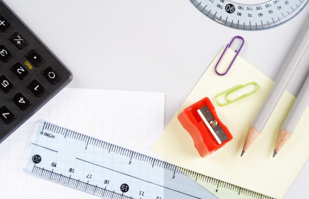 Calculator and ruler and other kit