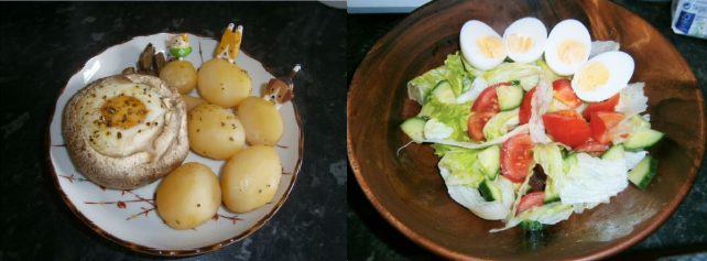 two meals made by a student