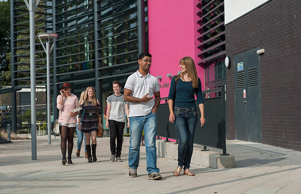 Students on a campus tour