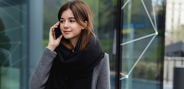 young woman on her phone