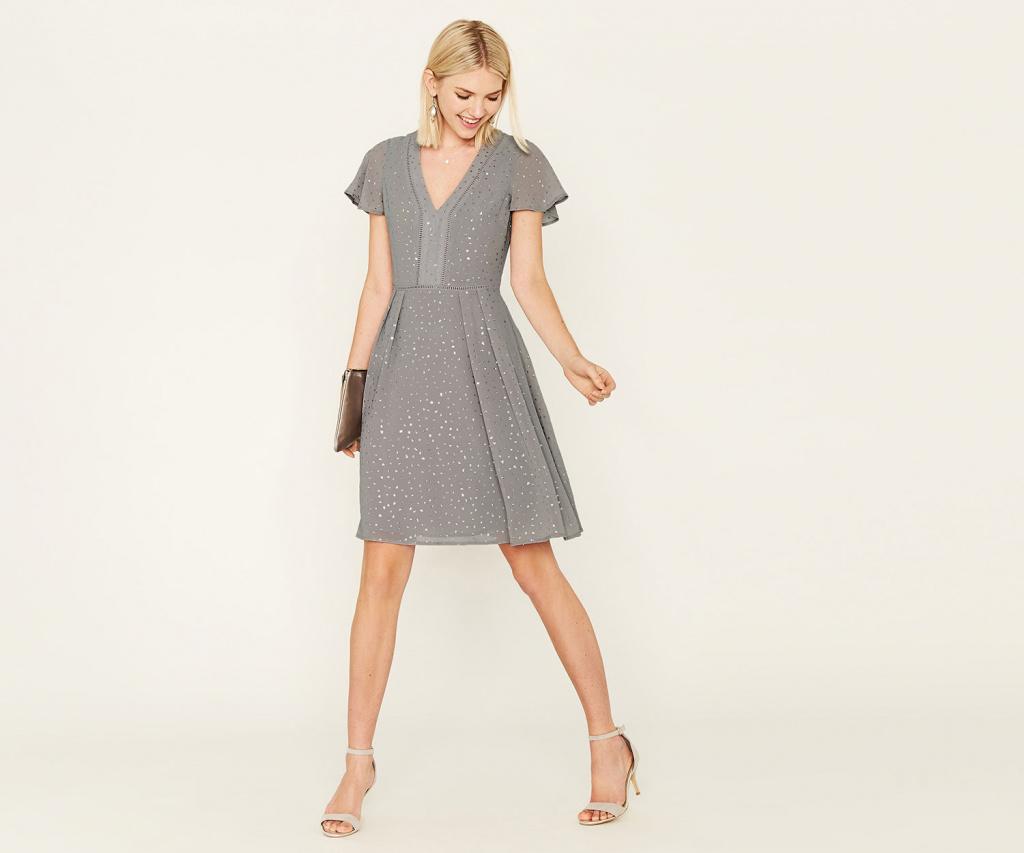 Oasis grey spot dress