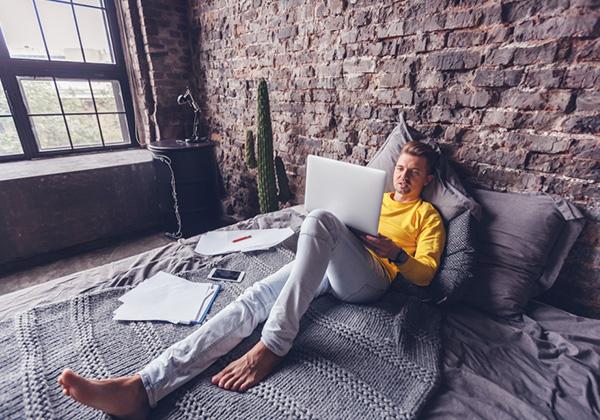 Student relaxing in smart room