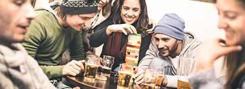 Mobile students socialising pub games