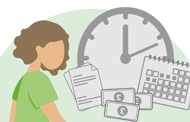 student graphic with clock image