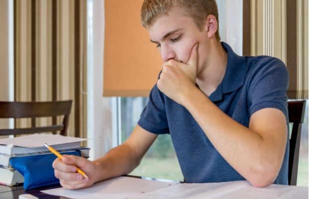 student working on revision