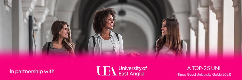 students walking through university