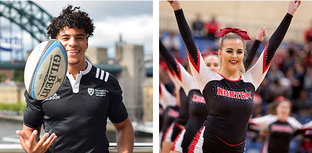 A picture of a rugby player and a picture of a cheerleader