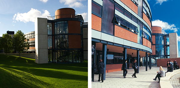 Two pictures of Northumbria's coach lane capus (buildings)