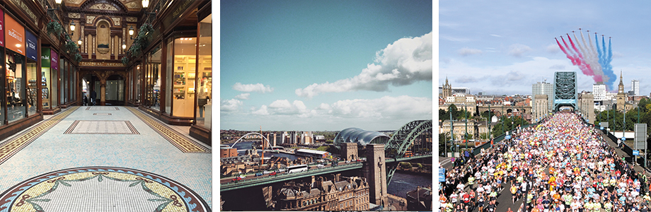 A picture of Newcastle's shopping centre, quayside and The Great North Run