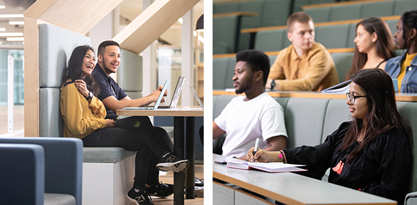 Students in a study booth and a lecture room