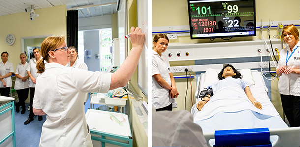 Nursing students in the Clinical Skills Centre