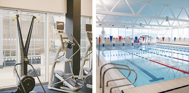 Am image of machines in a gym and an image of a swimming pool