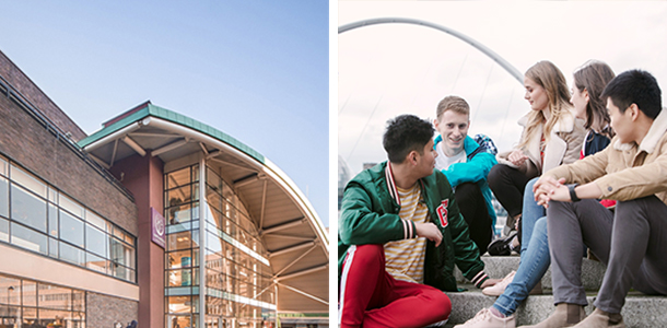 A picture of the Students Union building and a picture of a group of students sitting by the River Tyne