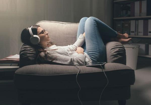 student on sofa
