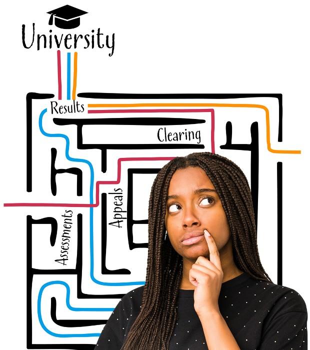 A student navigating the maze to university