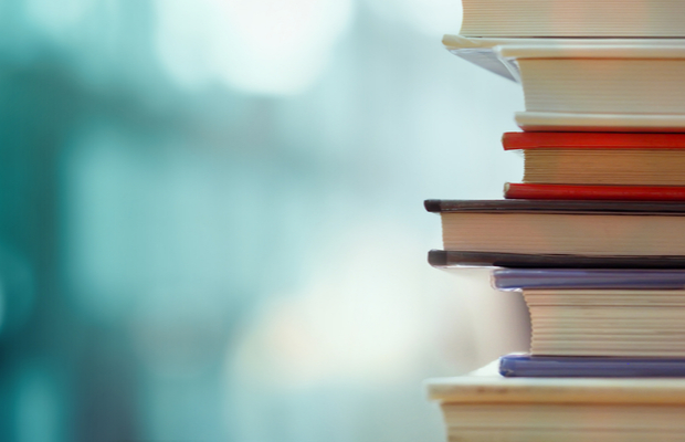 stack of books with blurred background