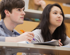 two students in a lecture