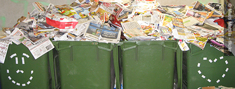 Recycling bins overflowing