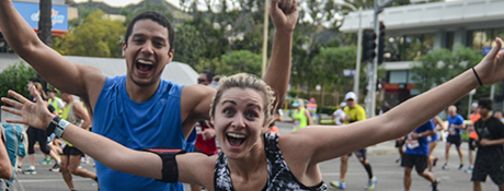 Students celebrating during a run